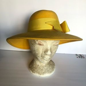 Vintage ADOLFO II yellow felt hat w/grosgrain bow